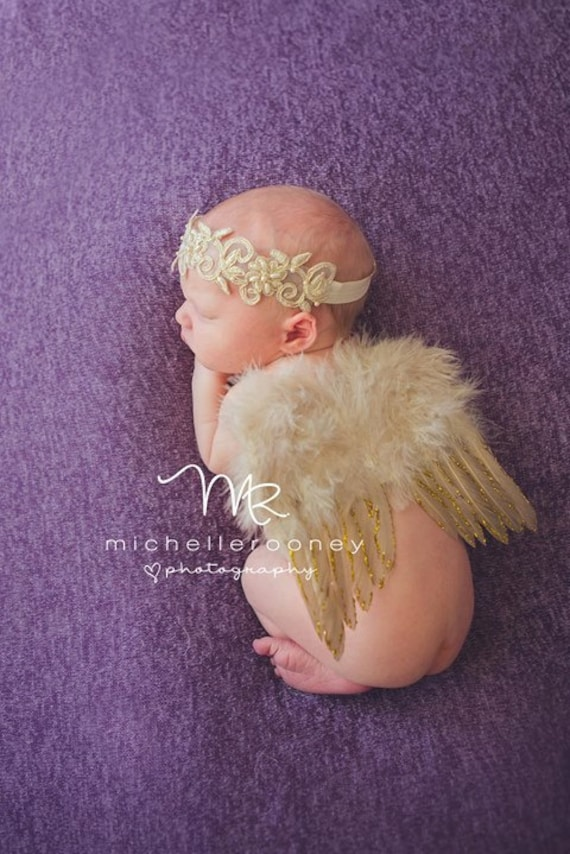 Couture Fairy Baby Gold Glitter Angel Baby Wing and Baby Halo Headband Set Beautiful Newborn Photo Prop Infant Toddler Many Colors available