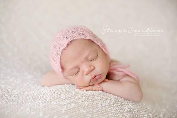 Baby Pink Mohair Hat / Mohair Bonnet / Pink Hat / Newborn Bonnet / Newborn Photo Prop / Knit Newborn / RTS