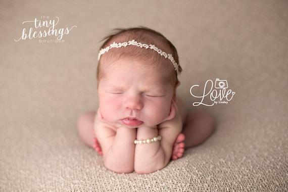 Petite Blush Headband, Baby Headband, Baby Tie Back, Petite Headband, Baby Girl Headband, Newborn Headband, Christening Headband, Baptism