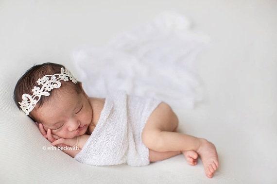 White Lace Headband, Newborn Headband, Newborn Photo Prop, Baptism Headband, Christening Headband, Baby Headband