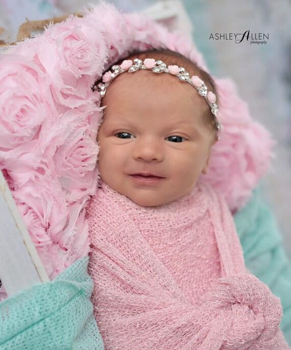 Pink Flower Rhinestone Halo, Newborn Rhinestone Headband, Newborn Headband, Simple Headband Baby Headband, Photo Prop, Newborn Prop