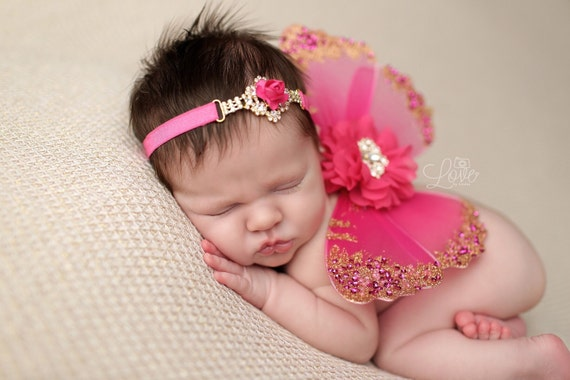 97cde22fe ... Hot Pink and Gold Butterfly Wing Set, Newborn Wings, Newborn Wing Prop,  Baby