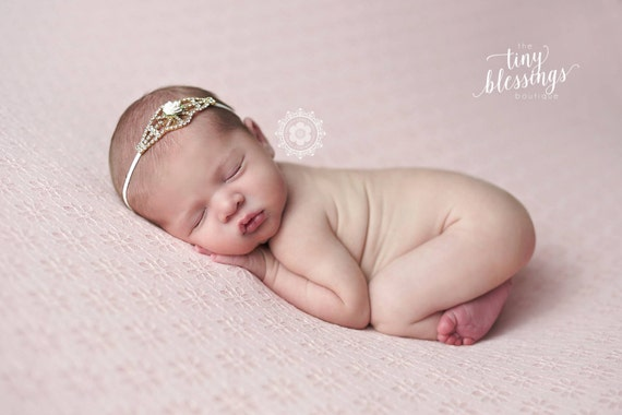 Sweet Melania Stunning Fit for a Queen Newborn Gold and Rhinestone Tie Back Baby Headband Halo Baby Crown Photo Prop
