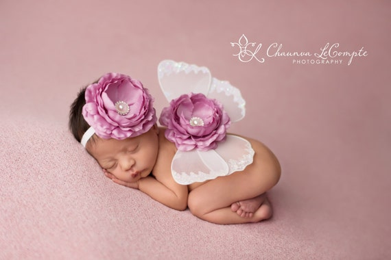 White and Rose Butterfly Wing Set, Newborn Wings, Newborn Wing Prop, Baby Wing Prop, Newborn Photo Prop, Newborn Butterfly Wings