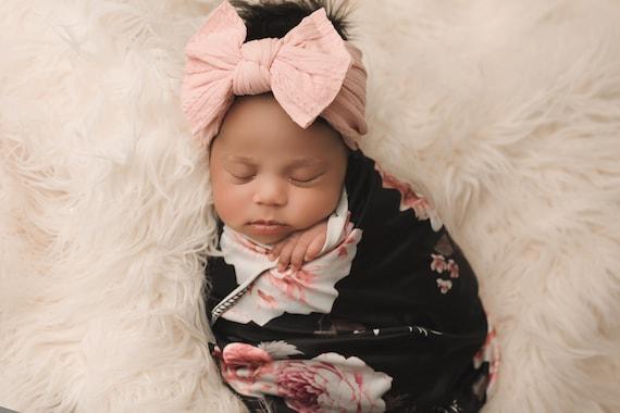 Black & Blush Floral Swaddle Blanket / Bow Headband / Headband Swaddle Set / Lightweight Baby Blanket /Swaddling Blanket / Soft Baby Blanket
