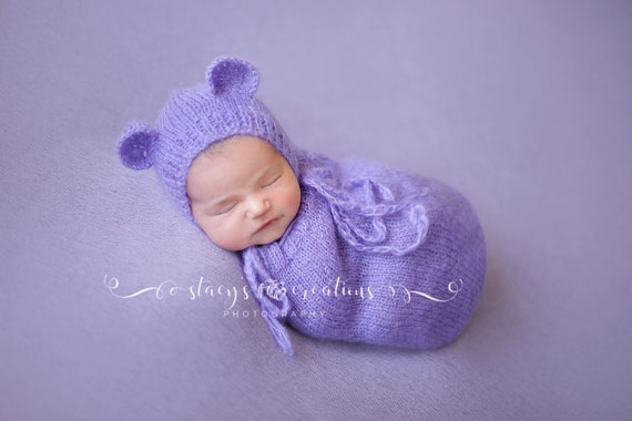 Orchid Mohair Snuggle Sack and Bonnet /  Mohair Wrap / Newborn Photo Prop / Knit Newborn Prop / Mohair Cocoon / Newborn Sack / RTS