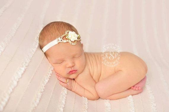 Rhinestone and Flower Headband, Newborn Headband, Ivory Headband, Baby Girl Headband, Baptism Headband, Christening Headband