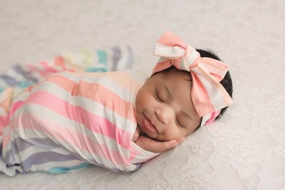 Rainbow Swaddle Blanket / Bow Headband / Headband Swaddle Set / Lightweight Blanket / Swaddling Blanket / Soft Blanket / Hospital Blanket
