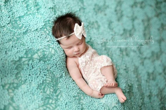 Ivory Lace Romper / Newborn Romper / Newborn Lace Romper / Ivory Lace Newborn Romper / Lace Bow Tie Back / Newborn Photo Prop / RTS