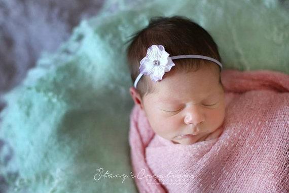 Lavender Flower Pearl Headband / Baby Pink Headband / Newborn Headband / Baby Headband / Petite Headband / Baby Girl Headband / Newborn Prop