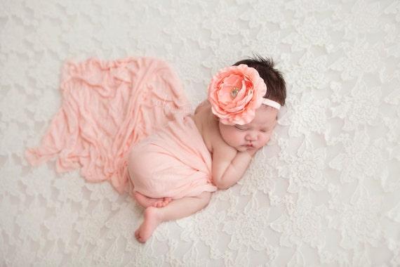 Coral Flower, Coral Flower Headband, Peach Headband, Baby Girl Headband, Baby Headband, Flower Headband, Delaney