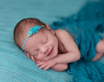 Petite Rosettes Headband in Turquoise, Baby Headband, Newborn Headband, Simple Headband, Newborn Photo Prop