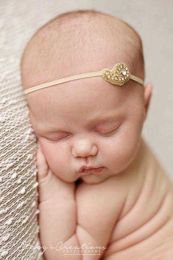 Gold Simple Headband / Blue Headband / Newborn Headband / Baby Headband / Petite Headband / Baby Girl Headband / Newborn Prop / Christening