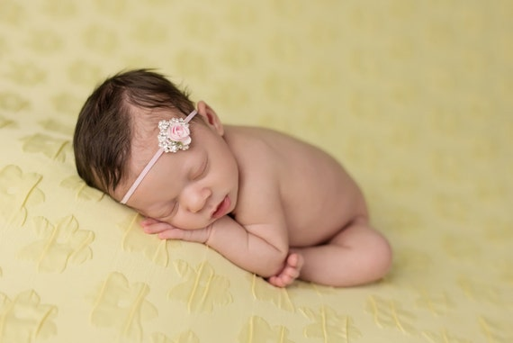 Katie Stunning Fit for a Queen Newborn Pink and Rhinestone Headband or Tie Back Baby Halo Baby Crown Photo Prop Many Colors Available