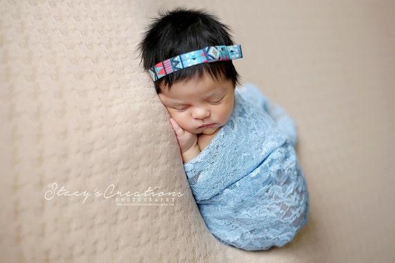 Blue Aztec Simple Bow Headband / Blue Headband / Newborn Headband / Baby Headband / Petite Headband / Baby Girl Headband / Newborn Prop