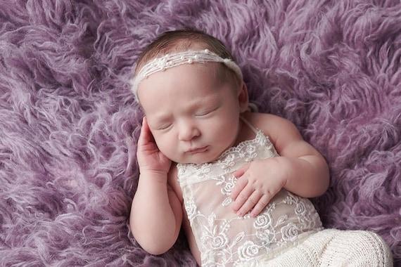Ready to Ship, Sweet Ivory Mohair and Pearl Tie Back, Mohair Halo, Mohair Headband, Organic Headband, Newborn Photo Prop, Newborn Headband