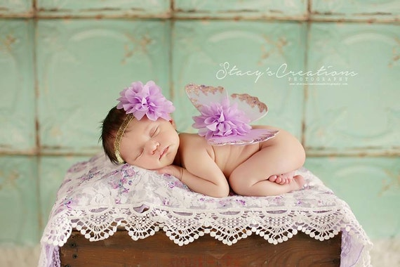 Lavender and Gold Butterfly Wing Set, Newborn Wings, Newborn Wing Prop, Baby Wing Prop, Newborn Photo Prop, Newborn Butterfly Wings
