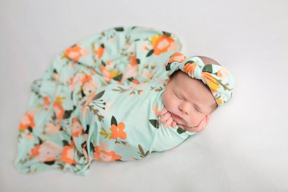 Knit Swaddle Blanket, Knot Headband, Headband Swaddle Set, Lightweight Baby Blanket, Swaddling Blanket, Knit Blanket, Soft Baby Blanket,