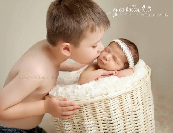 Petite Elegance Collection Sadie Tie back or Headband Beautiful Newborn Photo Prop Baby Headband