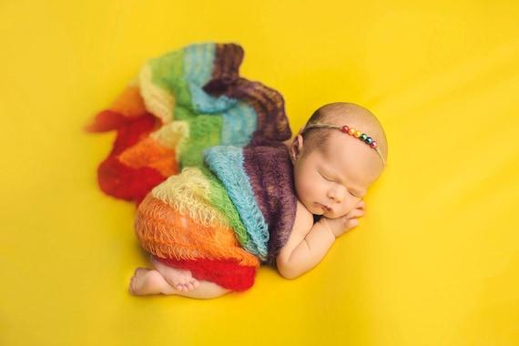 Rainbow Wrap Newborn Photos, Newborn Wrap Rainbow Baby, Rainbow Baby Photo Prop, Rainbow Baby Newborn Prop, Rainbow Baby Wrap, Mohair