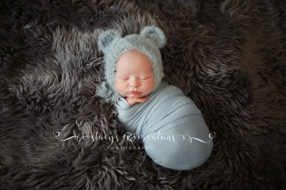 Furry Blue Bear Hat  / Bear Bonnet / Newborn Bonnet / Newborn Photo Prop / Blue Teddy Bear Bonnet / Bear Prop / Baby Blue Knit Wrap