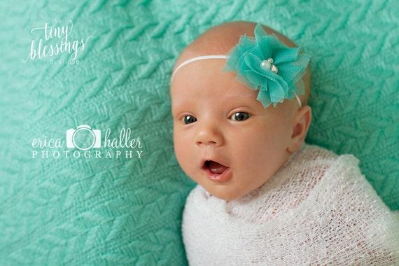 Aqua Headband, Flower Headband, Baby Girl Headband, Simple Headband, Photo Prop, Baby Headband, Payten