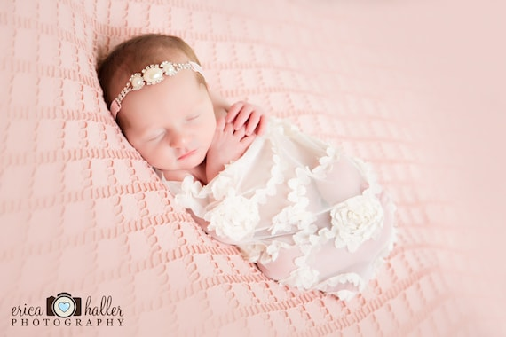 Stunning Fit for a Queen Newborn Pearl Rhinestone Tie Back Baby Headband Halo Baby Crown Photo Prop