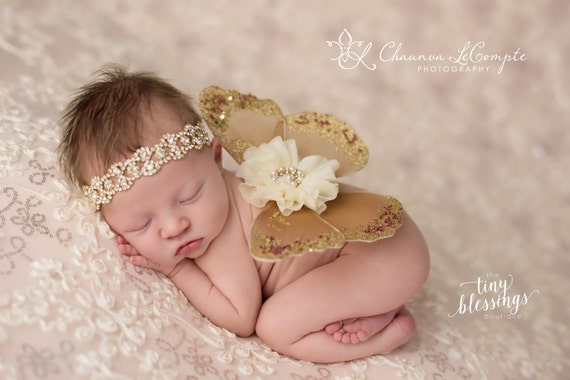 Brown and Ivory Butterfly Wing Set, Newborn Wings, Newborn Wing Prop, Baby Wing Prop, Newborn Photo Prop, Newborn Butterfly Wings