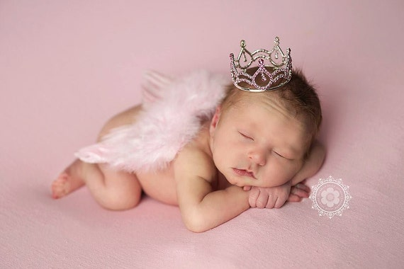 Baby Pink Angel Wing and Crown, Newborn Wings, Newborn Angel Wings, Newborn Wing Prop, Angel Wing Prop, Newborn Photo Prop