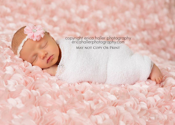 Petite Elegance Collection Mackenzie in Pink Headband or clip in MANY colors Beautiful Newborn Photo Prop Baby Headband