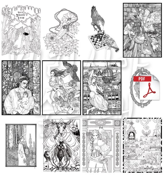 Set of 13 coloring Pages _ A little hawk 13 pack Instant Download Printable  Files.