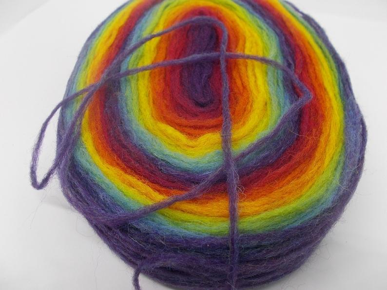 wool predrafted roving knitting preyarn felting self-striping lopi yarn Gradient thin pencil roving spinning fiber rainbow roving