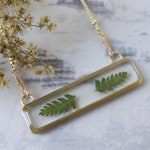 Bar Fern Necklace - Pressed Flower Jewelry - Botanical Necklace