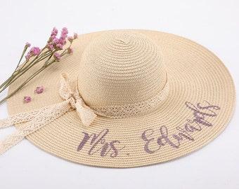 Mrs Beach Hat, Honeymoon Custom Monogram Floppy Monogrammed Hat for Women, Straw Ribbon, Personalized Sun hat | Etsy