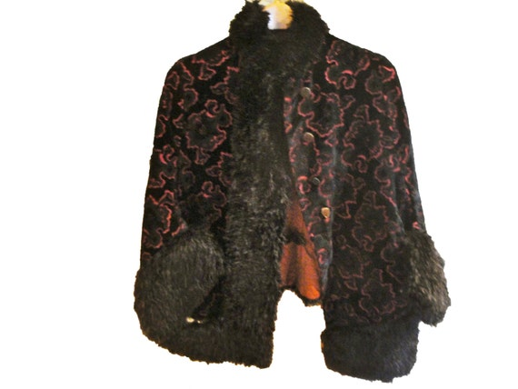 Victorian Velvet Black and Rust Carriage Cape with