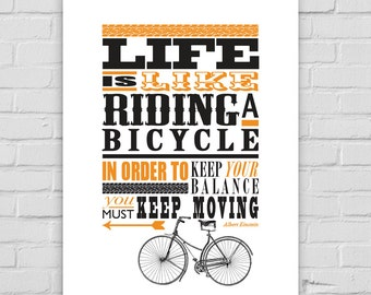 Life is Like Riding A Bicycle Print A4/A3/A2 fun poster wall art decor typography vintage retro letterpress style inspirational quote