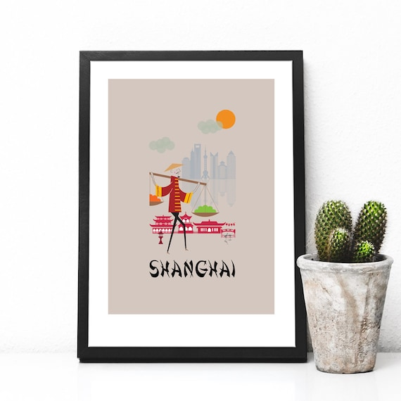 Shanghai China Watercolor Skyline Wall Art Home Decor Poster UNFRAMED