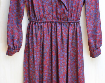 Gorgeous late 70's/ early 80's Vintage Lady Carol/ Long Sleeve/ Pink and Purple/ Paisley Secretary Dress