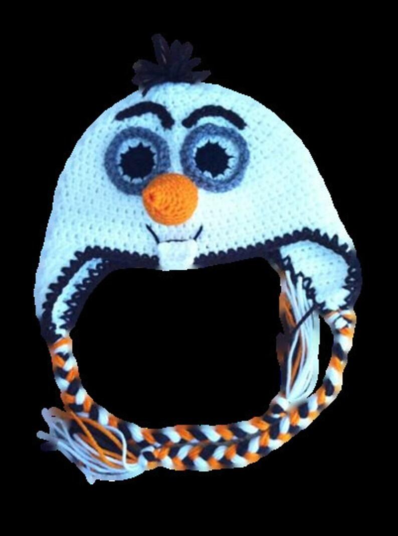 Frozen snowman Infant-Adult sizes Crochet handmade Olaf the snowman hatbeanie with earflsps and long braids