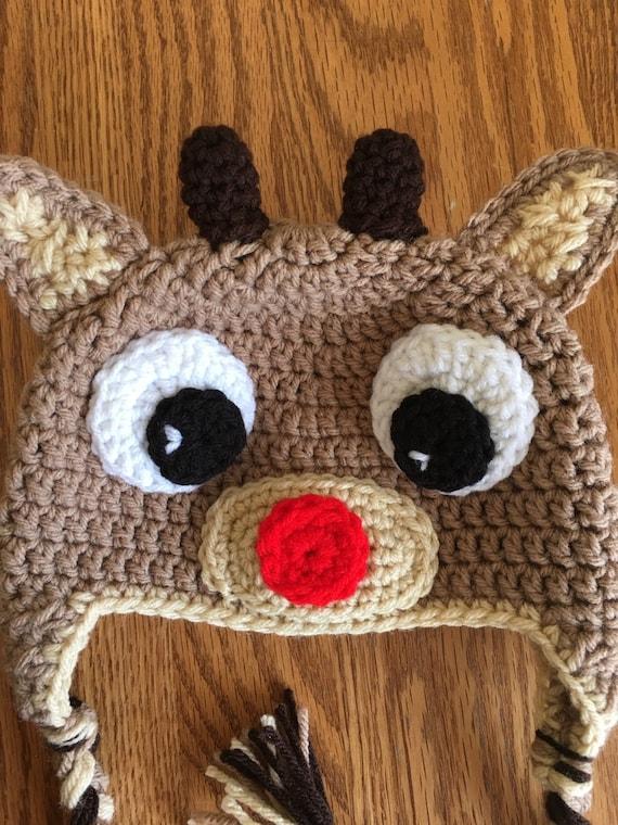 Rudolph das Rentier mit roter Nase inspirierte Hut. Häkeln Sie   Etsy