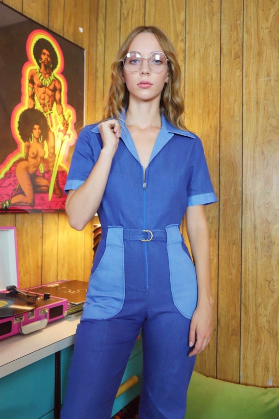 Miracle Eye 70's Style Handmade Denim Jumpsuit --