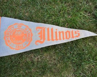 Vintage Illinois Wool Pennant