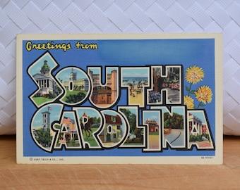 Vintage South Carolina Linen Postcard