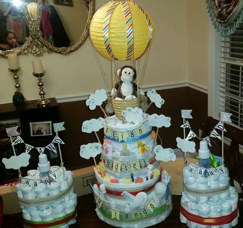 hot air balloon diaper cake etsy. Black Bedroom Furniture Sets. Home Design Ideas