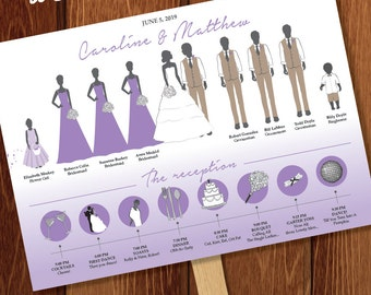 Silhouette Wedding Program Fan and Timeline 7 - DIGITAL OR PRINTED