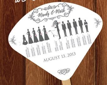 Silhouette Wedding Program Fan 1 - DIGITAL OR PRINTED