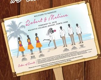 Silhouette Wedding Program Fan 3 Beach - DIGITAL OR PRINTED