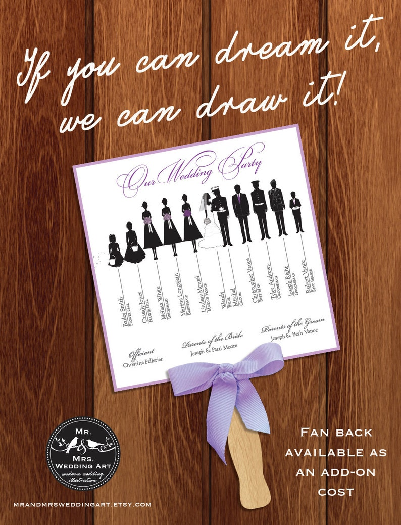 Silhouette Wedding Program Fan 2  DIGITAL OR PRINTED with bow image 0
