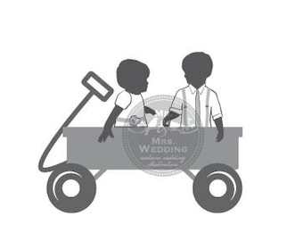 Silhouette Wedding Program - Infants in Wagon