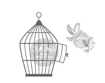 Silhouette Wedding Program - Releasing of Doves